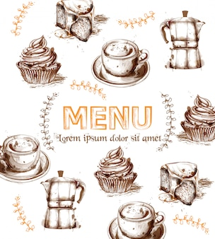 Menu card template drinks and cakes