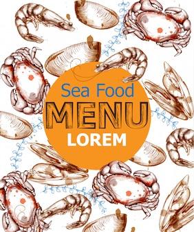Menu card template seafood