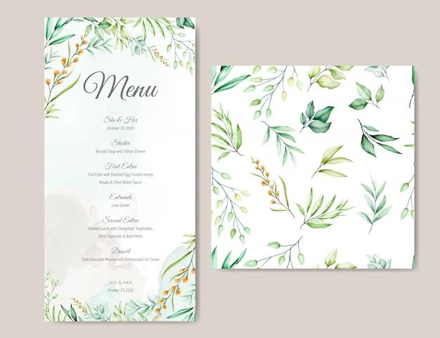 Menu card template with beautiful watercolor leaves
