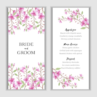 Menu card template with watercolor pink flower decoration