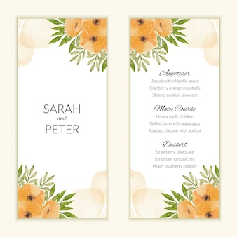 Menu card template with watercolor poppy flower bouquet