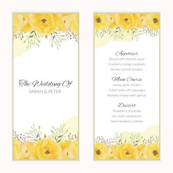 水彩の黄色の花飾り付きメニューカードテンプレート