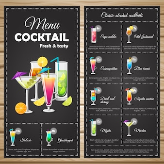 Menu classic alcohol cocktails