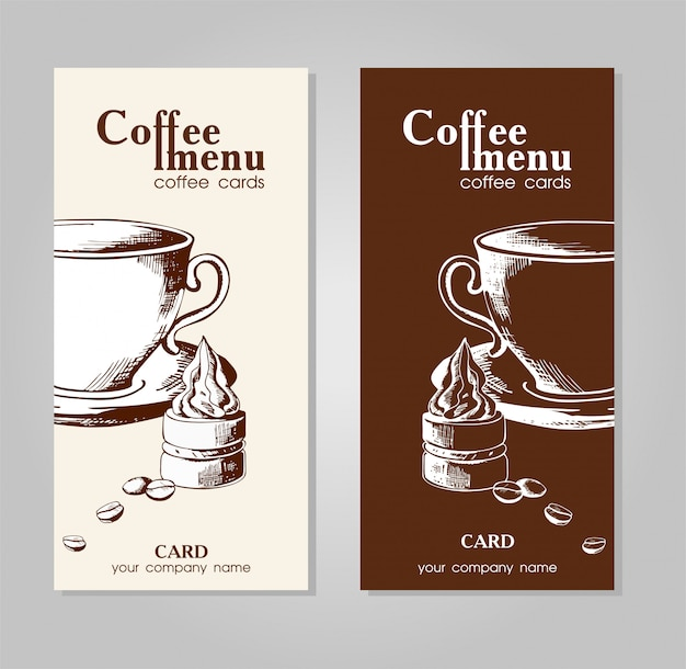 Menu of coffee for cafes and restaurants