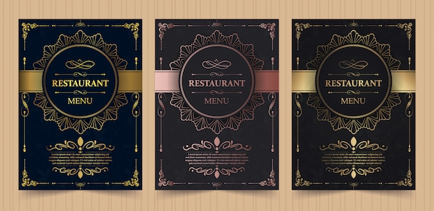 Menu cover layout with ornamental elements for luxury restaurant