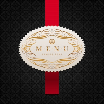 Menu cover template - ornamental framed label and red ribbon on a black pattern background
