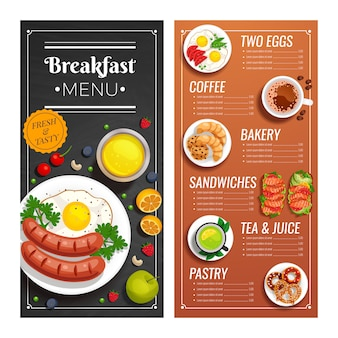 Menu design per caffè e ristorante