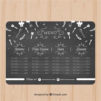 Menu design in chalkboard style