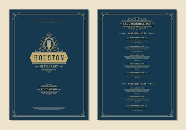 Шаблон дизайна меню с обложкой и брошюрой с винтажным логотипом ресторана