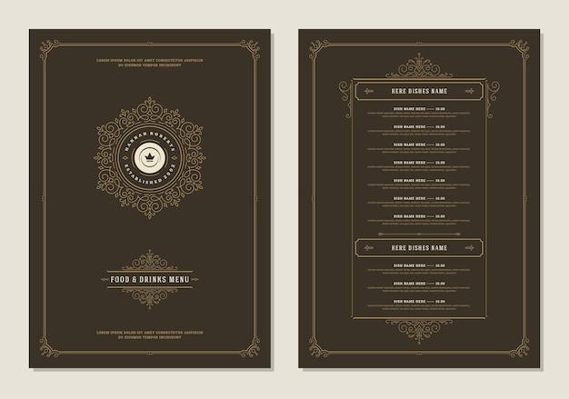 カバーとレストランのヴィンテージロゴパンフレット付きメニューデザインテンプレート