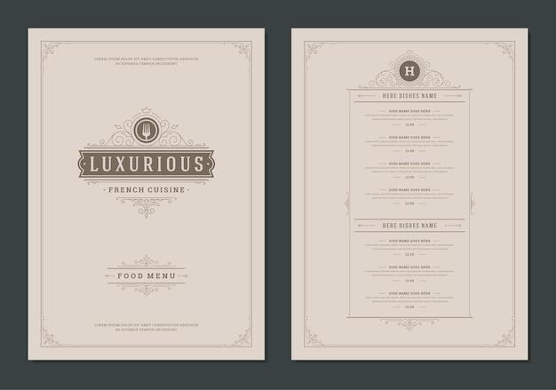 표지와 레스토랑 빈티지 로고 벡터 브로셔가 있는 메뉴 디자인 템플릿. 포크 기호 그림 및 장식 프레임 및 소용돌이 장식.