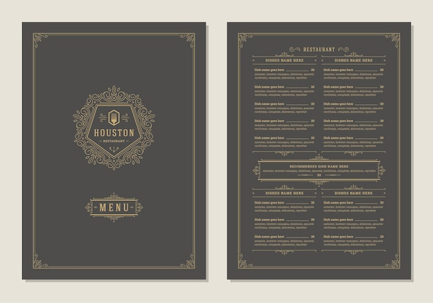 표지와 레스토랑 빈티지 로고 벡터 브로셔 메뉴 디자인 템플릿