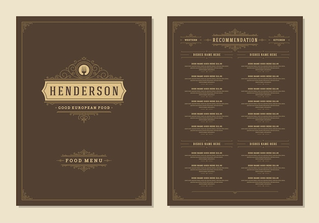 Menu design template with cover and restaurant vintage logo brochure.