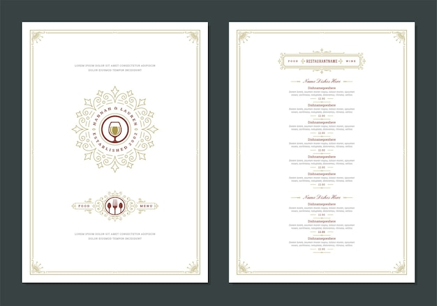 Menu design template with cover and restaurant vintage logo brochure