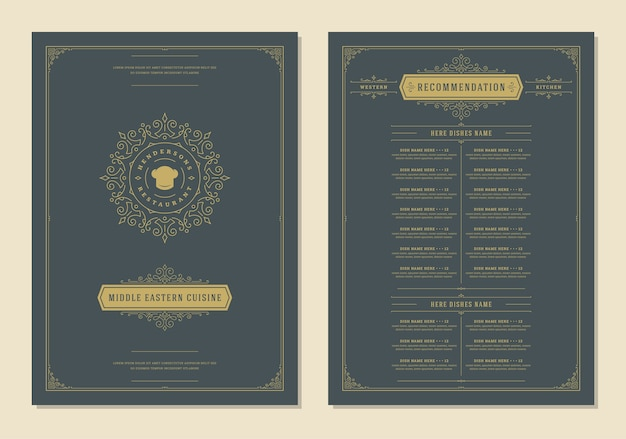Menu design template with cover and restaurant vintage logo brochure Premium Vector