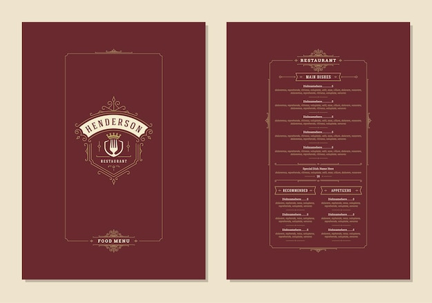 Menu design template with cover and restaurant vintage logo vector brochure