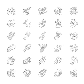 Menu dishes linear icons set. salads, first meal, main dishes. burger, beverage, dessert. fast food, restaurant meal.