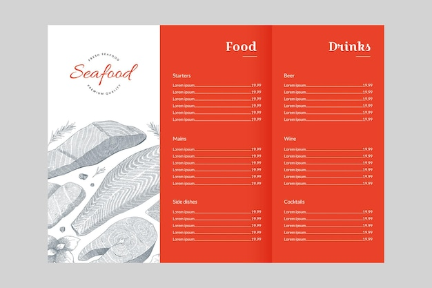 Menu for fish or seafood restaurant vector template