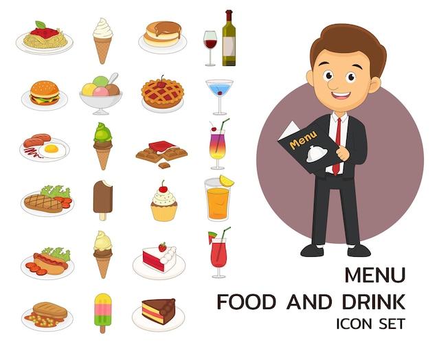 メニューの食べ物と飲み物のコンセプト フラット アイコン