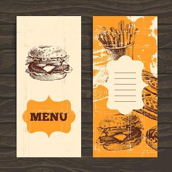 レストラン、カフェ、バー、喫茶店のメニュー。手描きイラストとヴィンテージの背景 Premiumベクター