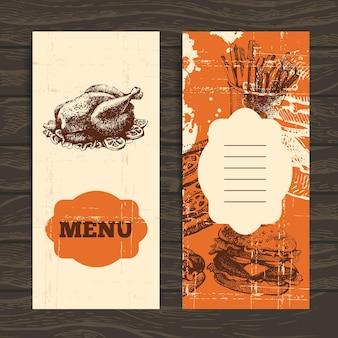 レストラン、カフェ、バー、喫茶店のメニュー。手描きイラストとヴィンテージの背景