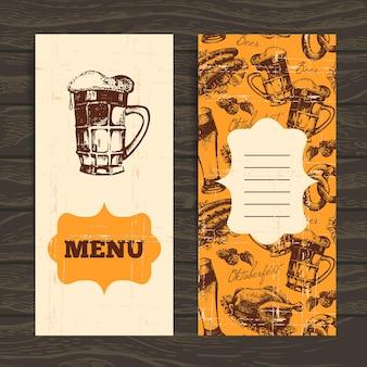 レストラン、カフェ、バーのメニュー。オクトーバーフェストのヴィンテージの背景。手描きイラスト。ビールとレトロなデザイン