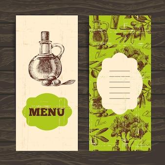 レストラン、カフェ、バーのメニュー。オリーブヴィンテージの背景。手描きイラスト