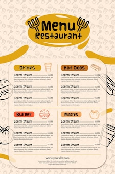 Меню для ресторана в вертикальном формате