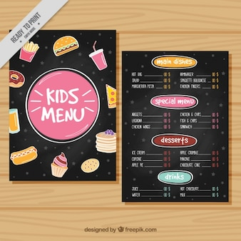 Menu for kids with colorful elements