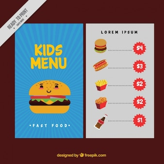 Menu for kids with decorative burger in flat design