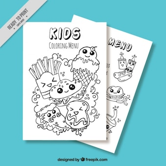 Menu for kids with fantastic sketches