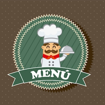 Menu label with chef over brown background