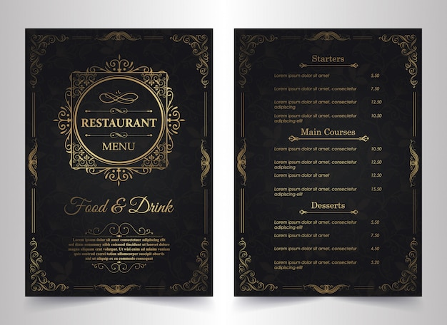 Menu layout with ornamental elements.