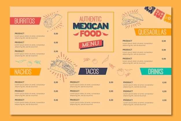 Menu for mexican food restaurant
