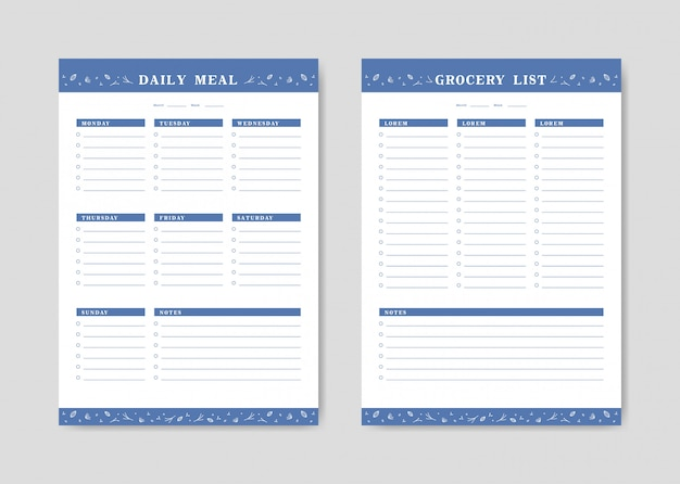 Menu planner and shopping grocery list with checklist templates