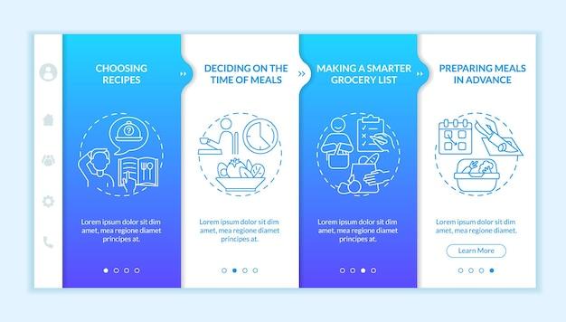 Шаблон вектора адаптации к основам планирования меню. адаптивный мобильный сайт с иконками. веб-страница прохождение 4-х шаговых экранов. пошаговая цветовая концепция здорового питания с линейными иллюстрациями