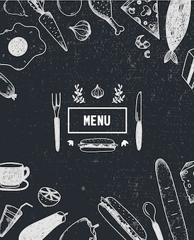 メニューポスター、手描きの食べ物でカバー。フードポスター、カード。黒と白。レストラン、カフェメニューテンプレート
