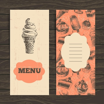 Menu for restaurant, cafe, bar, coffeehouse. vintage  background with hand drawn illustration Premium Vector
