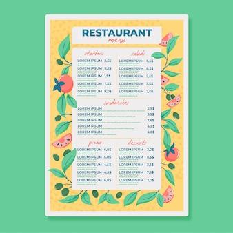 Меню ресторана в рисованной
