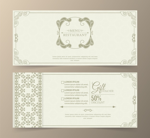 Menu restaurant luxury gift voucher design template