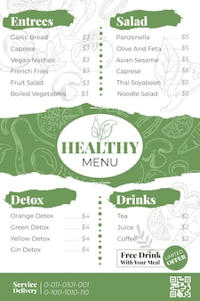Menu for restaurant template in vertical format
