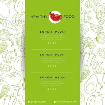 Шаблоны меню ресторана с овощами рисованной иллюстрации