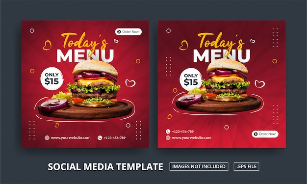 Menu square banner template