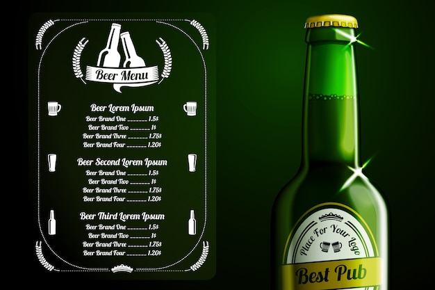 Menu template for beer and alcohol with place for logo of your pub, restaurant, cafe etc. with realistic green beer bottle on green background.