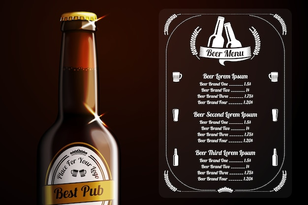 Menu template for beer and alcohol