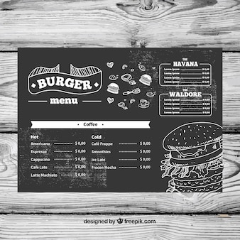 Menu template in chalk style
