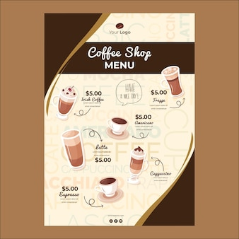 Menu template for coffee shop