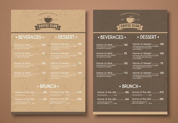 Menu template for coffee shop