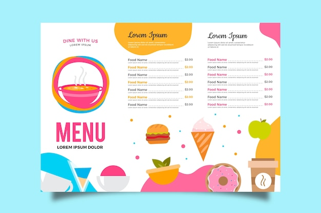 Menu template in colorful design