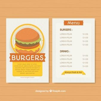Menu template of fast food in flat design